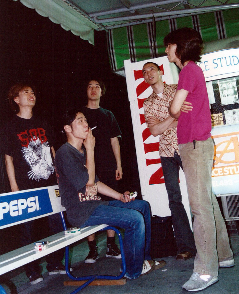L to R - T (Ba), Suzuki (Gt), K (Dr), Araki (Vo), Ehara (Gt) early times (2001) - KG were playing total exterme metal